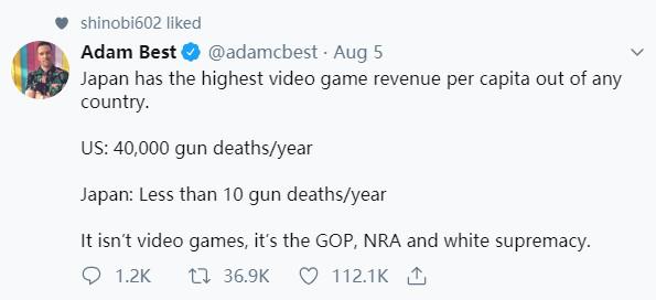 不负责任!Take Two CEO批评美国总统将枪击案归咎于电子游戏