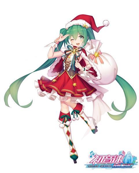 伴随着清脆的圣诞铃声,可爱的虚拟歌姬初音未来穿着金色圣诞装,坐着